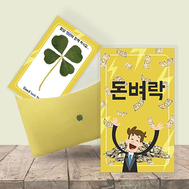 행운의 왕네잎클로버 생화카드 - 돈벼락