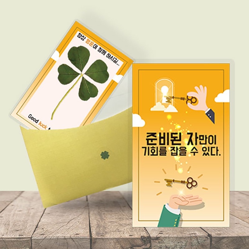 행운의 왕네잎클로버 생화카드 - 준비된자만이기회를얻을수있다
